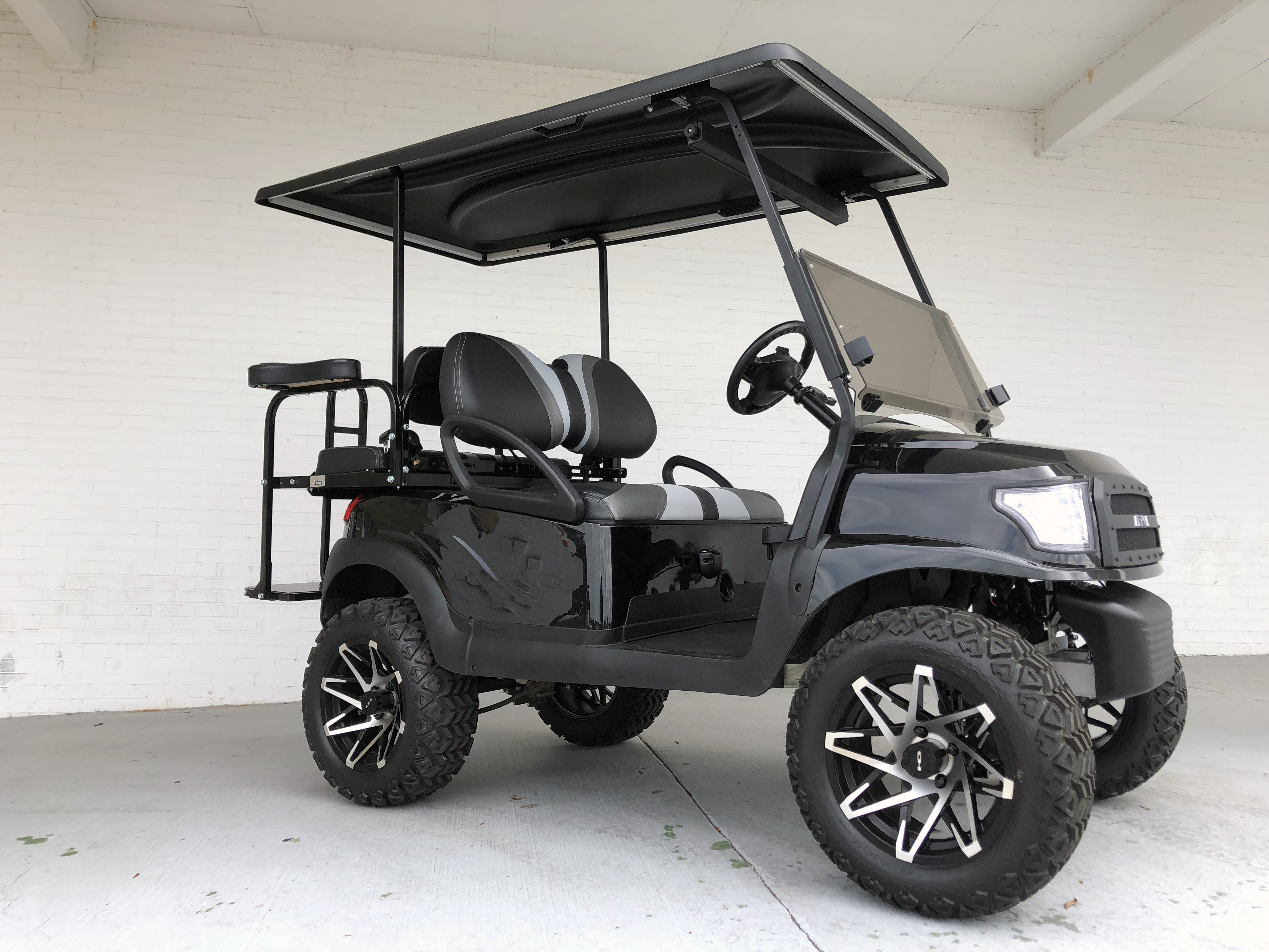 Black Lifted Alpha Golf Cart With Blade Seats