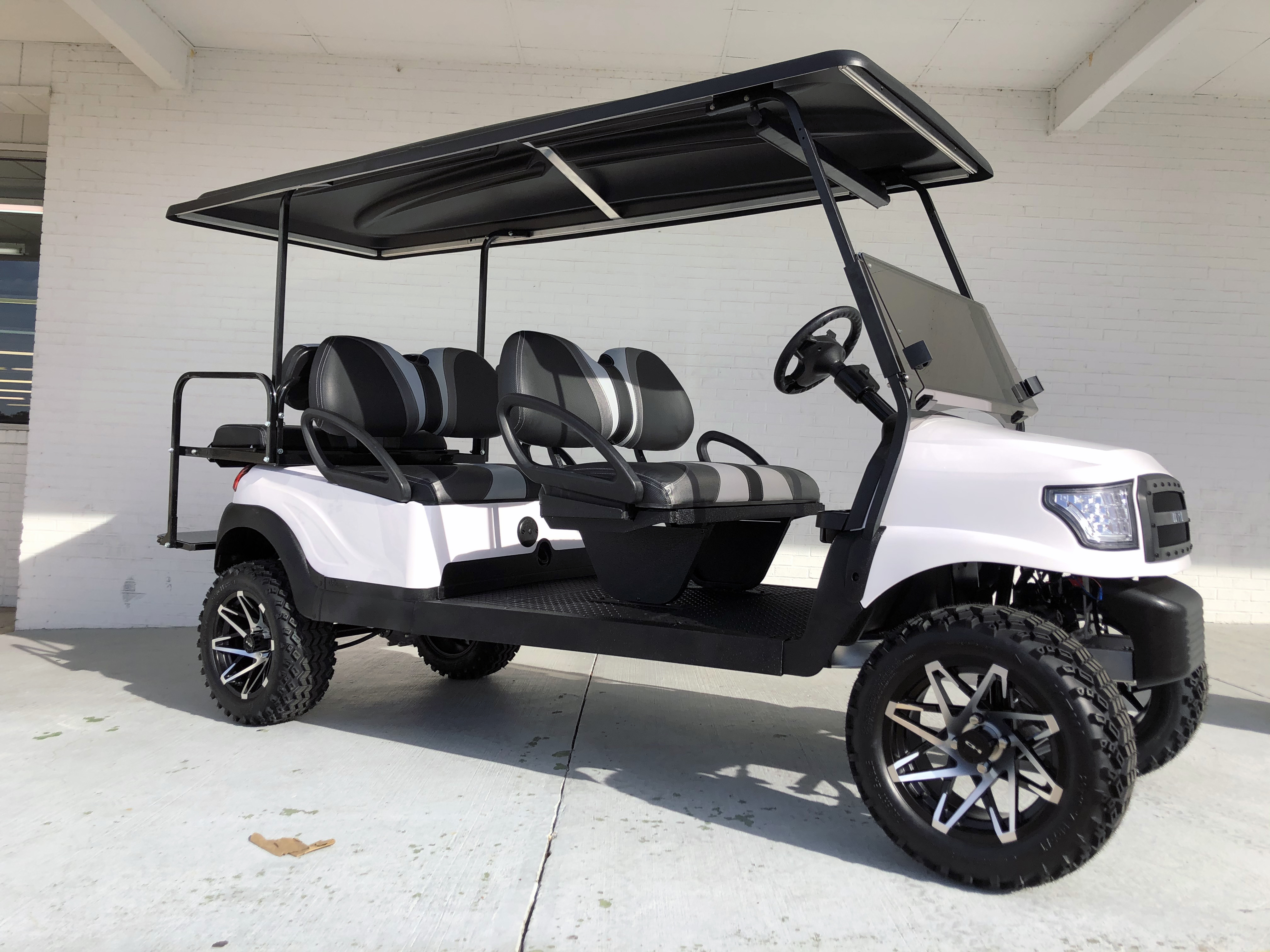 White Alpha Lifted 6 Passenger Limo Golf Cart