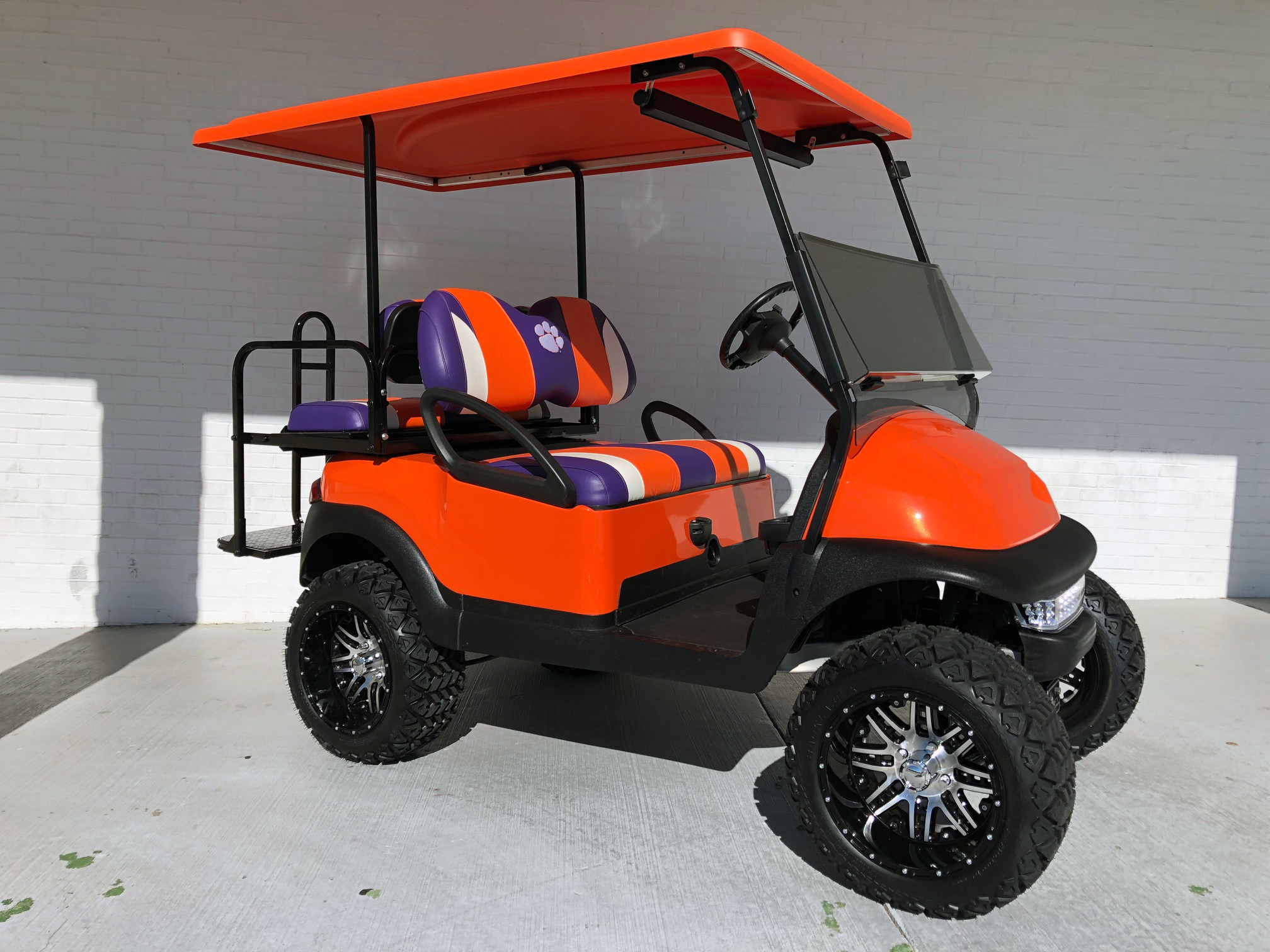 Clemson Tigers Orange Lifted Club Car Golf Cart