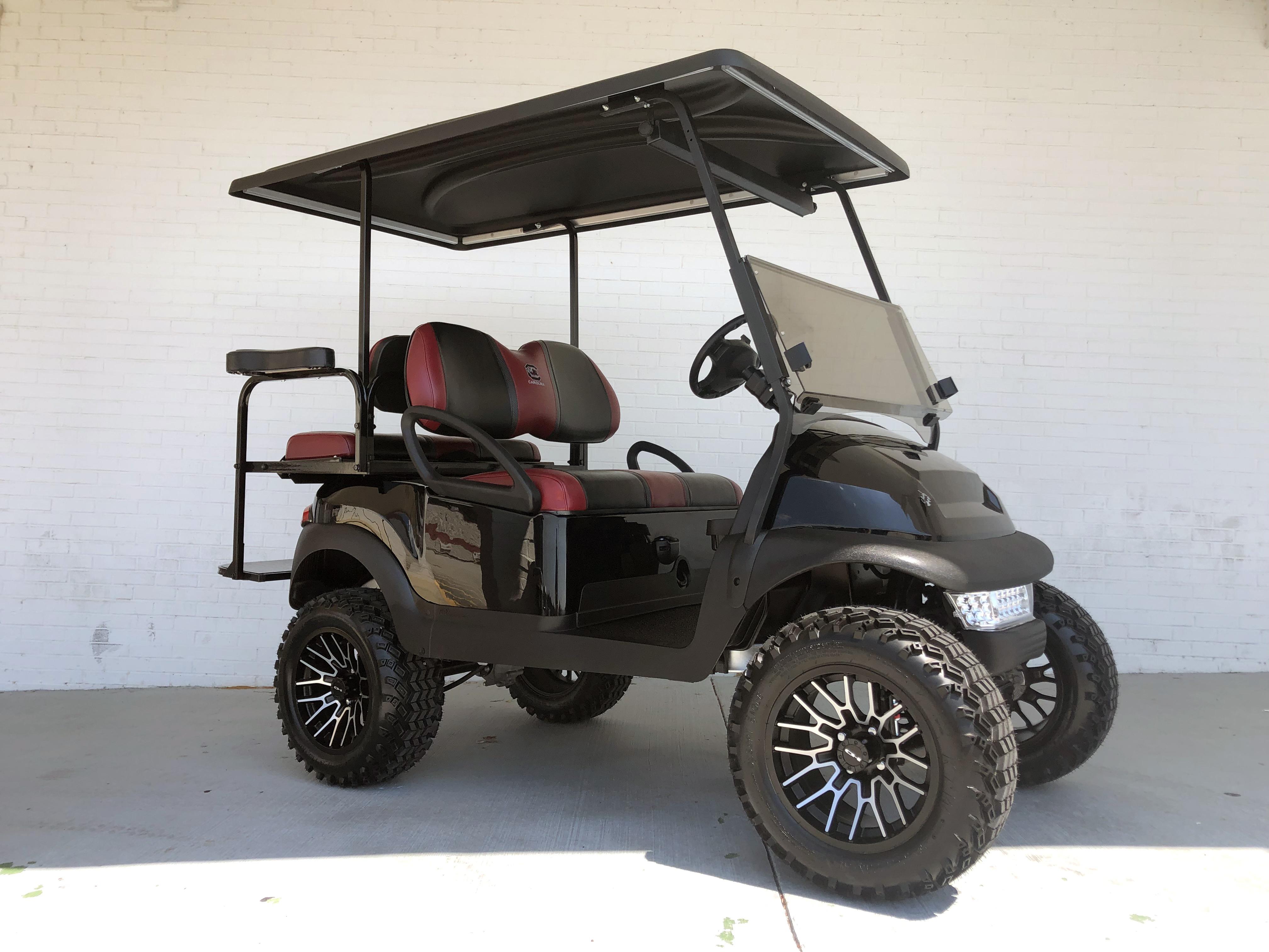 Gamecock Black Burgundy Lifted Club Car Golf Cart Golf Carts Lifted