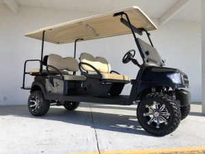 Black Alpha Club Car Precedent Limo Six Passenger Golf Cart Tidewater Carts