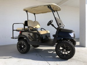 Black Alpha Golf Cart Club Car Precedent with Beige Seats Roof 03