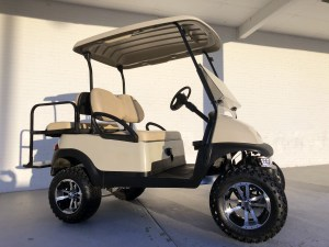 Economy Beige Lifted Club Car Precedent Golf Cart Tidewater Carts