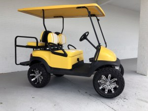 YELLOW AND WHITE DOUBLE TAKE LIFTED CLUB CAR PRECEDENT GOLF CART 02