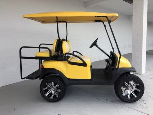 YELLOW AND WHITE DOUBLE TAKE LIFTED CLUB CAR PRECEDENT GOLF CART 035