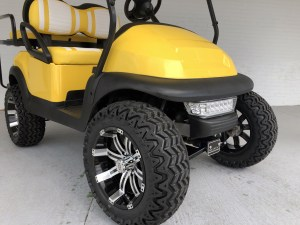 YELLOW AND WHITE DOUBLE TAKE LIFTED CLUB CAR PRECEDENT GOLF CART 04